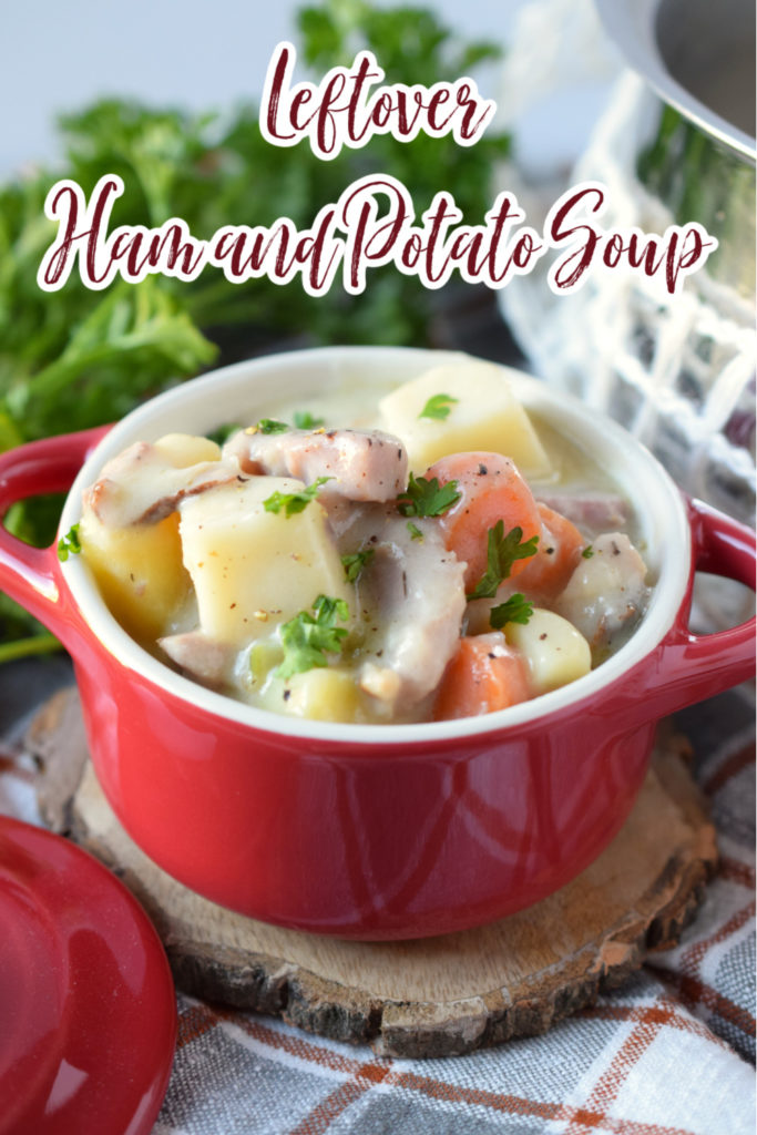 Ham and Potato Soup - This recipe is the perfect way to use up leftover holiday ham! Ham, potatoes, carrots, celery, and onion cooked together in a creamy broth. Ham Soup | Leftover Ham Recipes | Ham and Potato Soup